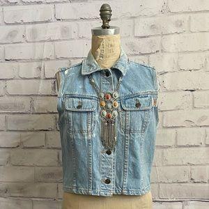 ABE- 1980's distressed button up denim vest
